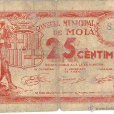 Billetes locales: MOIA 25 CENTIMOS GUERRA CIVIL ANTIGUO BILLETE . ORIGINAL. GARANTIZADO,. Lote 44046342