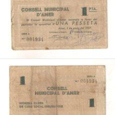 Billetes locales: BILLETE LOCAL DEL CONSEJO MUNICIPAL DE AMER DE 1 PESETA DE 1937. MBC- CATÁLOGO TURRÓ-187A. (L31).. Lote 45212152