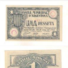 Billetes locales: BILLETE LOCAL DEL CONSEJO MUNICIPAL DE ARGENTONA DE PESETA DE 1937. MBC+ CATÁLOGO TURRÓ-260. (L49).. Lote 45239298