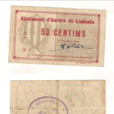 Billetes locales: BILLETE LOCAL DEL AYUNTAMIENTO AURORA DE LLUÇANÈS 50 CÉNTIMOS. RARO. MBC. CATÁLOGO TURRÓ-306. (L61).. Lote 45241055