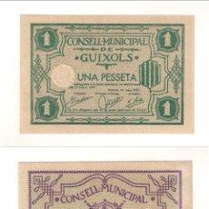 Billetes locales: BILLETE LOCAL DEL CONSEJO MUNICIPAL DE GUIXOLS DE PESETA 1937. PLANCHA. CATÁLOGO TURRÓ-1407. (L324).. Lote 45311558