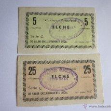 Billetes locales: CINCO Y VEINTICINCO CÉNTIMOS. ELCHE. 1937. Lote 45681948