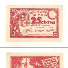 Billetes locales: BILLETE LOCAL DEL CONSEJO MUNICIPAL DE MOIÀ DE 25 CÉNTIMOS. SC- CATÁLOGO TURRÓ-1726B. (L374).. Lote 45797210
