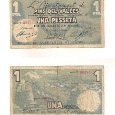 Billetes locales: BILLETE LOCAL DEL AYUNTAMIENTO DE PINS DEL VALLES DE PESETA DE 1937. SERIE A. MBC- (L425).. Lote 45816180