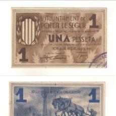 Billetes locales: BILLETE LOCAL DEL AYUNTAMIENTO DE POBLA DE SEGUR DE PESETA 1937. PLANCHA. CATÁLOGO TURRÓ-2217 (L429). Lote 45816800
