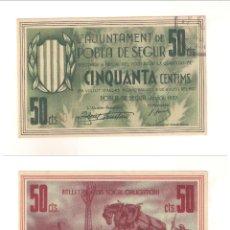 Billetes locales: BILLETE LOCAL DEL AYUNTAMIENTO DE POBLA DE SEGUR DE 50 CÉNTIMOS DE 1937. PLANCHA. (L430).. Lote 45817000
