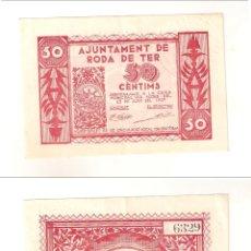 Billetes locales: BILLETE LOCAL DEL AYUNTAMIENTO DE RODA DE TER DE 50 CÉNTIMOS DE 1937. EBC+ (L466).. Lote 45832650