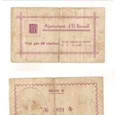 Billetes locales: BILLETE LOCAL DEL AYUNTAMIENTO DE EL ROURELL DE 50 CÉNTIMOS. SERIE B. RARÍSIMO. MBC- (L470).. Lote 45833223