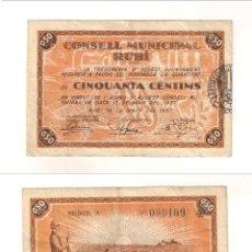 Billetes locales: BILLETE LOCAL DEL CONSEJO MUNICIPAL DE RUBÍ DE 50 CÉNTIMOS DE 1937. SERIE A. MBC+ (L471).. Lote 45833413