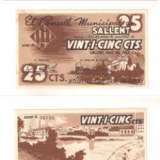 Billetes locales: BILLETE LOCAL DEL CONSEJO MUNICIPAL DE SALLENT DE 25 CÉNTIMOS DE 1937. SERIE A. PLANCHA. (L479).. Lote 45834990