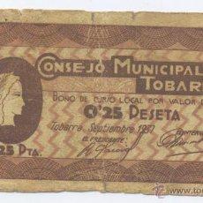 Billetes locales: TOBARRA- ALBACETE- CONSEJO MUNICIPAÑ- 0,25 PESETA- SETIEMBRE 1937. Lote 46109168