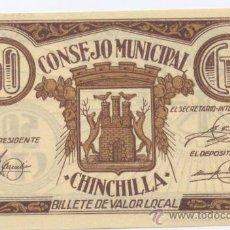 Billetes locales: CHINCHILLA- ALBACETE- CONSEJO MUNICIPAÑ- 50 CENTIMOS. Lote 46109276
