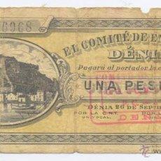 Billetes locales: DENIA- ALICANTE- EL COMITE DE ENLACE- 1 PESETA-26-09-1936. Lote 46111191
