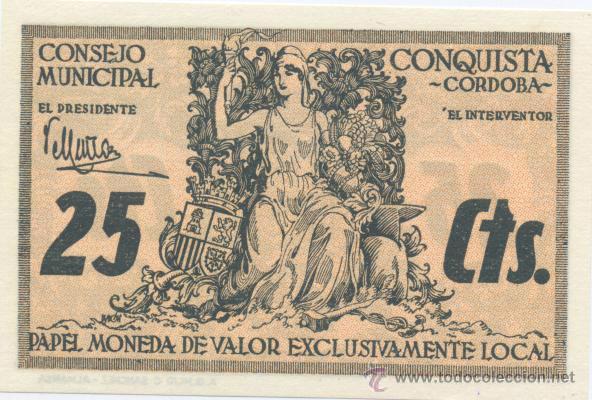 CONQUISTA- CORDOBA- CONSEJO MUNICIPAL- 25 CENTIMOS (Numismática - Notafilia - Billetes Locales)
