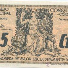 Billetes locales: CONQUISTA- CORDOBA- CONSEJO MUNICIPAL- 25 CENTIMOS. Lote 46116636