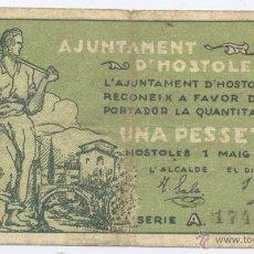 Billetes locales: D´HOSTOLES- GERONA- AYUNTAMIENTO- 1 PESETA- 01-05-1937. Lote 46118987