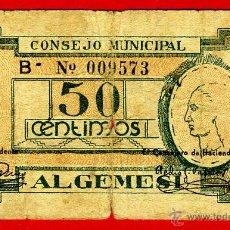 Billetes locales: BILLETE LOCAL GUERRA CIVIL, 50 CENTIMOS , ALGEMESI VALENCIA , MBC- , ORIGINAL , T573. Lote 46136632