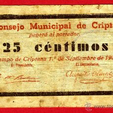 Billetes locales: BILLETE LOCAL GUERRA CIVIL, 25 CENTIMOS , CRIPTANA CIUDAD REAL , MBC- , ORIGINAL , T026. Lote 46136736