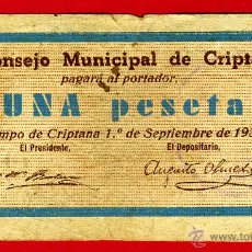 Billetes locales: BILLETE LOCAL GUERRA CIVIL, 1 PESETA , CRIPTANA CIUDAD REAL , MBC- , ORIGINAL , T062. Lote 46136818