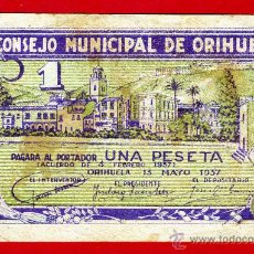 Billetes locales: BILLETE LOCAL GUERRA CIVIL, 1 PESETA , ORIHUELA ALICANTE , MBC- , ORIGINAL , T959. Lote 46137313