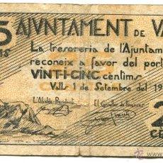 Billetes locales: BILLETE DE 25 CÉNTIMOS DEL AYUNTAMIENTO DE VALLS. 1937. Lote 46227179