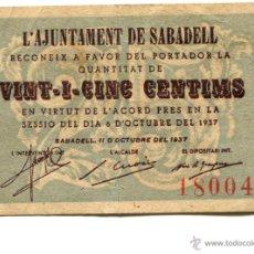 Billetes locales: BILLETE DE 25 CÉNTIMOS DEL AYUNTAMIENTO DE SABADELL. 1937. Lote 46232217