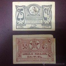 Billetes locales: BILLETES LOCALES DE 25 Y 50 CTS DEL CONSEJO MUNICIPAL DE DAIMIEL. Lote 47403299