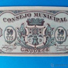 Billetes locales: CAUDETE CINCUENTA CENTIMOS DE PESETA SIN CIRCULAR. Lote 47849125