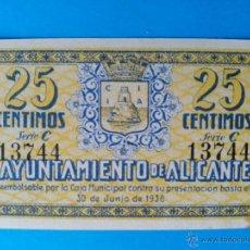 Billetes locales: AYUNTAMIENTO DE ALICANTE VEINTICINCO CENTIMOS SIN CIRCULAR. Lote 47849182