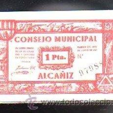 Billetes locales: BILLETE. GUERRA CIVIL. ALCAÑIZ, TERUEL. CONSEJO MUNICIPAL. 1 PESETA.. Lote 48155133