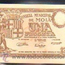 Billetes locales: BILLETE. GUERRA CIVIL. CONSELL MUNICIPAL DE MOIÁ, BARCELONA. 1 PESETA.. Lote 48155173