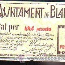 Billetes locales: BILLETE. GUERRA CIVIL. AJUNTAMENT DE BLANES, GERONA. 1 PESETA.. Lote 48155275