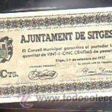 Billetes locales: BILLETE. GUERRA CIVIL. AJUNTAMENT DE SITGES, BARCELONA. 25 CENTIMOS.. Lote 48175635