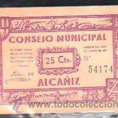 Billetes locales: BILLETE. GUERRA CIVIL. EL CONSEJO MUNICIPAL DE ALCAÑIZ, TERUEL. 25 CENTIMOS. Lote 48176419