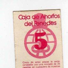 Billetes locales: VALE 5 PESETAS - CAJA DE AHORROS DEL PENEDES - DE CURSO LEGAL 1978 ESCASEZ MONEDA FRACCIONARIA. Lote 48363645
