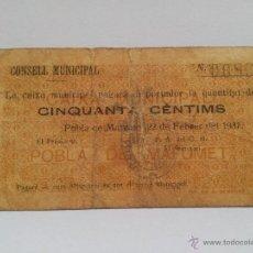 Billetes locales: ANTIGUO BILLETE LOCAL, GUERRA CIVIL, POBLA DE MAFUMET, CONSELL MUNICIPAL, CINQUANTA CENTIMS.. Lote 48622375