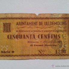 Billetes locales: ANTIGUO BILLETE LOCAL, GUERRA CIVIL, AJUNTAMENT DE ULLDEMOLINS. 50 CENTIMS, 1937. Lote 48622880