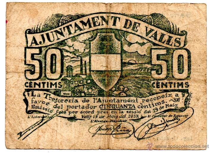 BILLETE BITLLET LOCAL GUERRA CIVIL AJUNTAMIENTO AJUNTAMENT DE VALLS 50 CÈNTIMS (Numismática - Notafilia - Billetes Locales)
