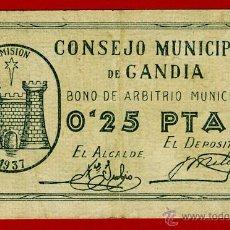 Billetes locales: BILLETE LOCAL GUERRA CIVIL , 25 CENTIMOS DE GANDIA VALENCIA 1937 , ORIGINAL , T059. Lote 49248209