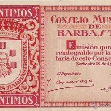 Billetes locales: 25 CENTIMOS DE BARBASTRO. Lote 49946616