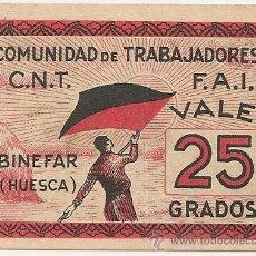 Billetes locales: 25 GRADOS DE BINEFAR RARO MÁS ASÍ. Lote 49946641
