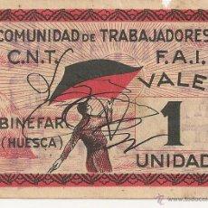 Billetes locales: 1 UNIDAD DE BINEFAR, CON FIRMAS, RARO. Lote 49946644