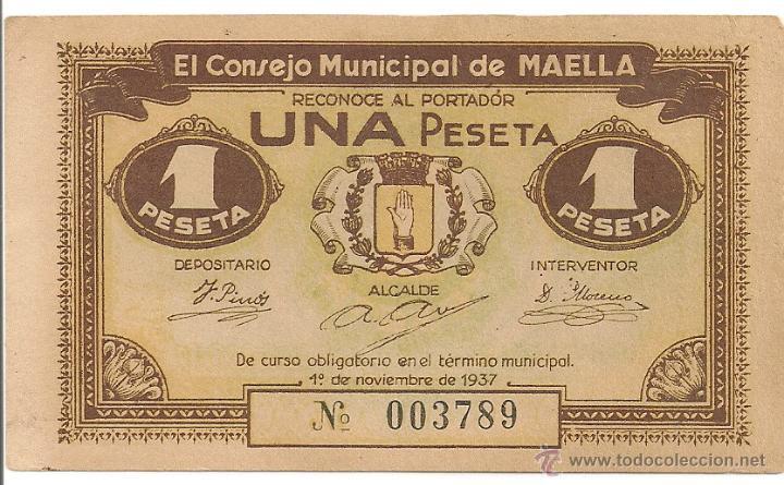 1 PESETA DE MAELLA RARO Y MAS ASÍ (Numismática - Notafilia - Billetes Locales)