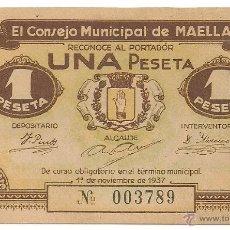 Billetes locales: 1 PESETA DE MAELLA RARO Y MAS ASÍ. Lote 49946664