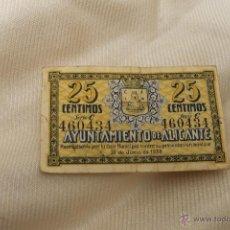 Billetes locales: BILLETE AYUNTAMIENTO DE ALICANTE GUERRA CIVIL 1937 25 CENTIMOS. Lote 50432732