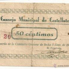 Billetes locales: 50 CENTIMOS DE CASTELLOTE !! OJO EL Nº 20 !!. Lote 51093264
