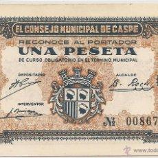 Billetes locales: 1 PESETA DE CASPE RARA EN PLANCHA. Lote 51093364