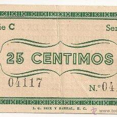 Billetes locales: 25 CENTIMOS DE AZUARA MUY RARO ASI. Lote 51093405