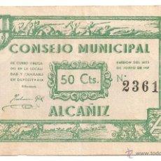 Billetes locales: 50 CENTIMOS DE ALCAÑIZ 3ª EMISIÓN BONITO COLOR. Lote 51093434
