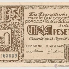 Billetes locales: 1 PESETA DE GRAUS PLANCHA. Lote 51093507